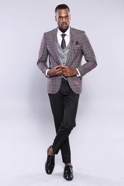 Price: MVR4084.77 Burgundy Plaid Jacket Pants Vest Solid Suit Wessi Free Shipping - Estimated Delivery 20-40 days