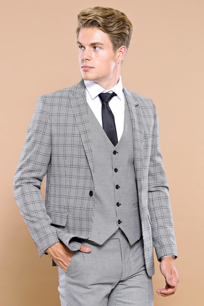 Price MVR 5432.94 Plaid Gray Vest Slim Fit Suit Wessi - Free Shipping, Estimated Delivery 20-40 Days