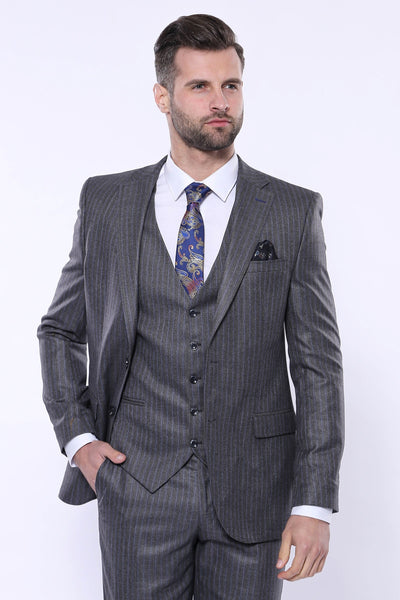 Price MVR5089.00 Striped Slim Fit Gray Vest Suit Wessi Free Shipping - Estimated Delivery 20-40 days
