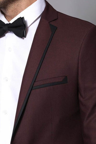 Price MVR2966.74  Collar Piping Burgundy Groom Wear Men Suit Wessi Free Shipping Estimated Delivery 20-40 days