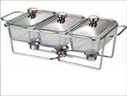 three sink glass buffet dish chafing pot catering pot