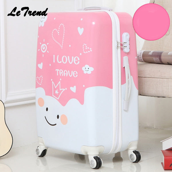 Code: L983345 Letrend Cute Cartoon Student Rolling Luggage Spinner Children Trolley Suitcase Wheels Kids Carry On Travel Bag Hardside Trunk Free Shipping Delivery 20-40 days