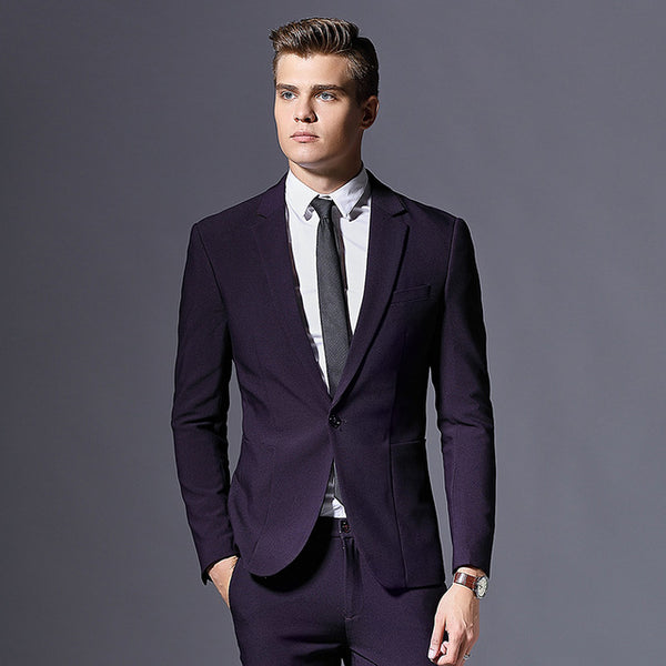 Code: Business Blazer Men Three Pieces Suit Jacket Slim fit Single Button Free Shipping Delivery 10-20 Days