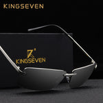 Code: S798854 KINGSEVEN Rimless Sunglasses Men Polarized Gold Men's Shades Sun Glasses Luxury brands Night Driving Glasses Oculos escuro