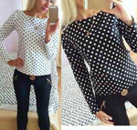 Autumn Women Bodycon Long Sleeve Polka Dot Casual Top Blouse Chiffon Shirt Tee