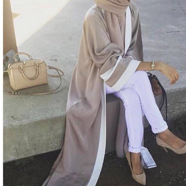 Code: A9633251 Casual Muslim Abaya Striped Dress Scarf Cardigan Long Robes Kimono Ramadan Middle East Thobe Worship Service Islamic Clothing Free Shipping Delivery 15-40 days
