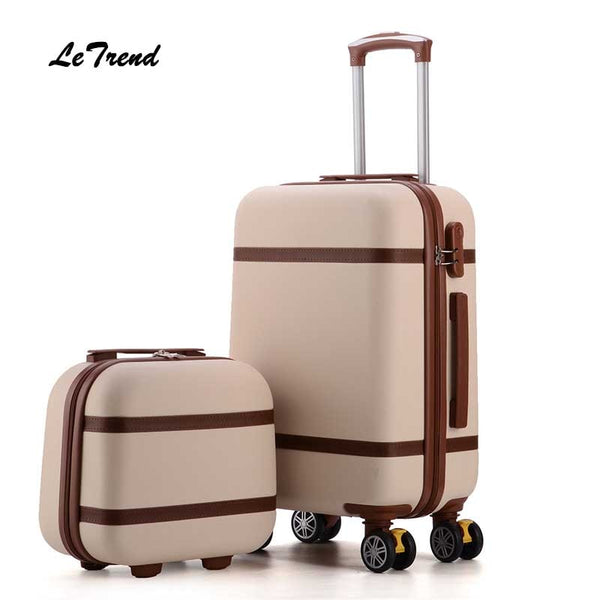 Code: L876631 Letrend Vintage ABS+PC Rolling Luggage Set Spinner Trolley Women Travel Bag 20 inch Cabin Suitcases Wheel 24/26 inch Retro Trunk Free Shipping Delivery 20-40 days