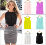 2018 New Women Blouses Feminine Clothes Tank Top Tropical Sexy Chiffon Plus Size Female Blouses Casual Base Tops S-XXL 6 color
