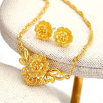 MxGxFam Wedding Jewelry Flower Necklace and Earring set For Bridal 24 k Pure Gold Color High Quality AAA+