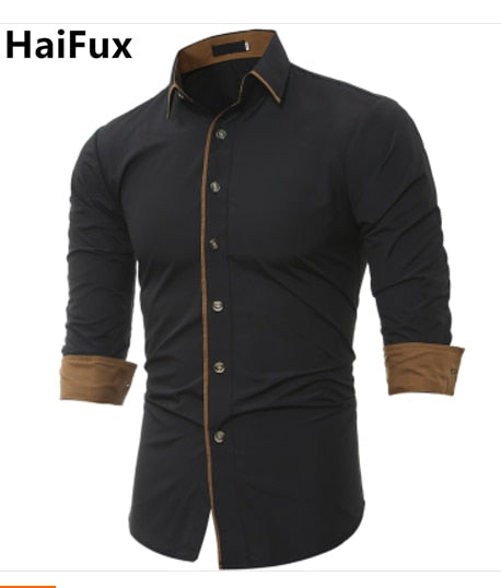 Men Shirt Brand 2018 Male High Quality Long Sleeve Shirt Caueal Solid color Slim Fit Black Man Dress Shirts camisa masculina 3XL