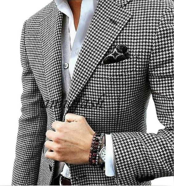 Code: MS65221 - Custom made woolen houndstooth blazer Casual suit wedding suit houndstooth jacket+black woolen pants+vest Free Shipping Delivery 15-30 days