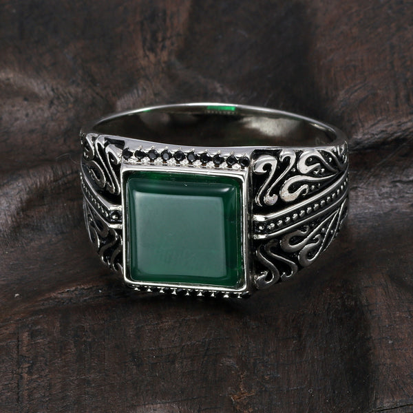 925 Sterling Silver Rings Mens Rings Vintage Flower Engraved Black Green Red Imitated Stone Square Shape Punk Turkey Jewelry