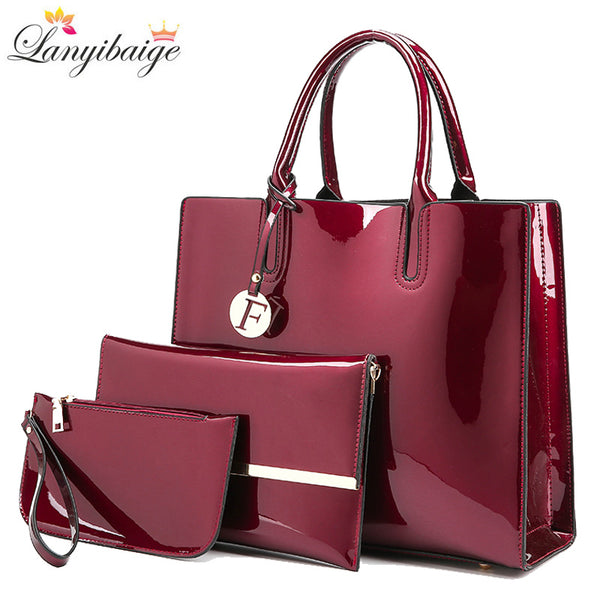 Brand 3 Sets Women Handbags High Quality Patent Leather Female Messenger Bag Luxury Tote+Ladies Shoulder Crossbody Bag+Clutch