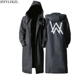 Code: R986652  Stylish EVA Black Adult Raincoat Alan Walker Pattern Outdoor Men's Long Style Hiking Poncho Environmental  rain coat Free Shipping Delivery 15-40 days