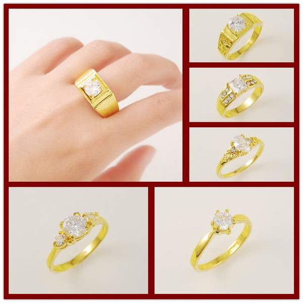 24K Pure Gold coated Rings for Men Women Hip Hip Cocktail Party Jewelry 6 Styles Size7/8/9/10 Yellow Gold Color Anillos Accessories