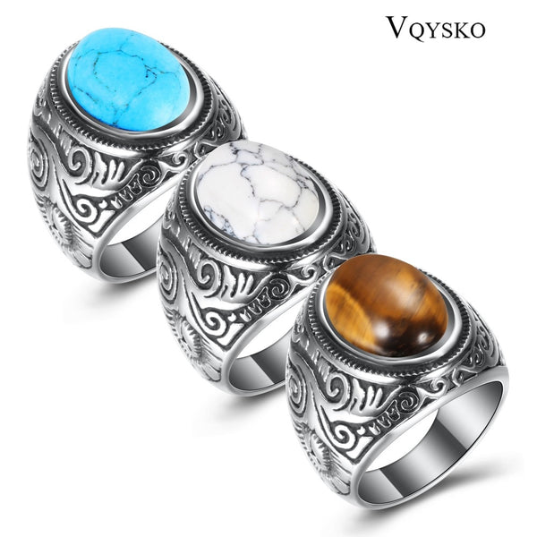 Code: R9866525 Wholesale Retro jewelry titanium steel inlaid three colors onyx ring men domineering Opal ring Free Shipping Delivery 15-40 days