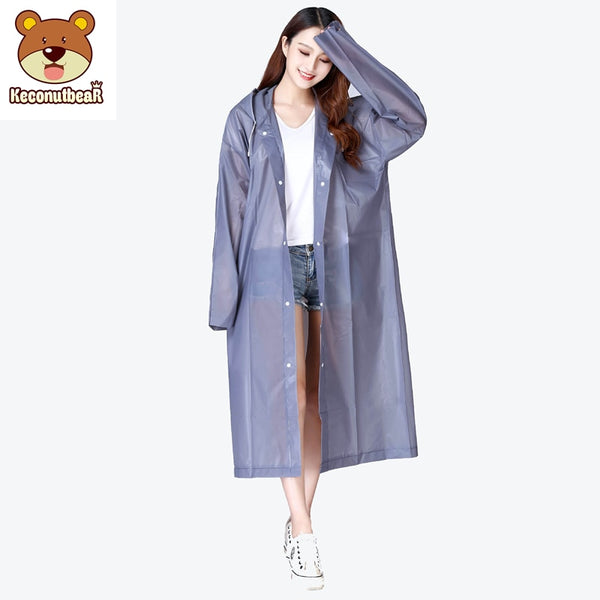 Code: R986652 Keconutbear Fashion EVA Women Raincoat Thickened Waterproof Rain Coat Women Clear Transparent Tour Waterproof Rainwear Suit Free Shipping Delivery 15-40 days