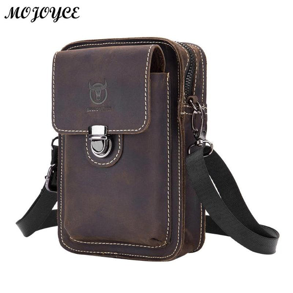 Code: H9833475 BULLCAPTAIN Crazy Horse Leather Male Waist Back Pack Phone Pouch Bags High Quality Men's Small Chest Shoulder Belt Bag Mochila