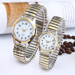 Code: W7331886 Fashion Business Women Men Elastic Gold Sliver Quartz Watch Tide Lovers Couple Party Office OL Bracelet Watches Gift