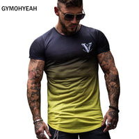 Code: T986632 Gradient color Fashion T Shirt Men Fast compression Breathable Mens Short Sleeve Fitness Mens t-shirt Gyms Tee Tight Casual Top