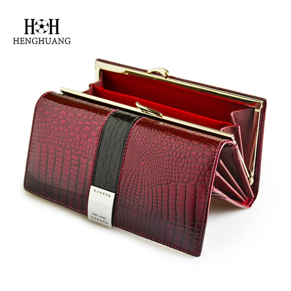 Code: P783321 HH Luxury Genuine Leather Womens Wallets Patent Alligator Bag Female Design Clutch Long Multifunctional Coin Card Holder Purses