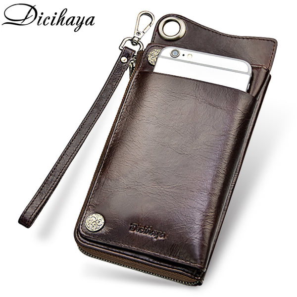 Code: W985845 DICIHAYA High Capacity Card Holder Wallet Men Genuine Leather Wallet Brand Male Purse Long Purse Coin Purse Phone Bag For iPhone Free Shipping Delivery 20-45 days
