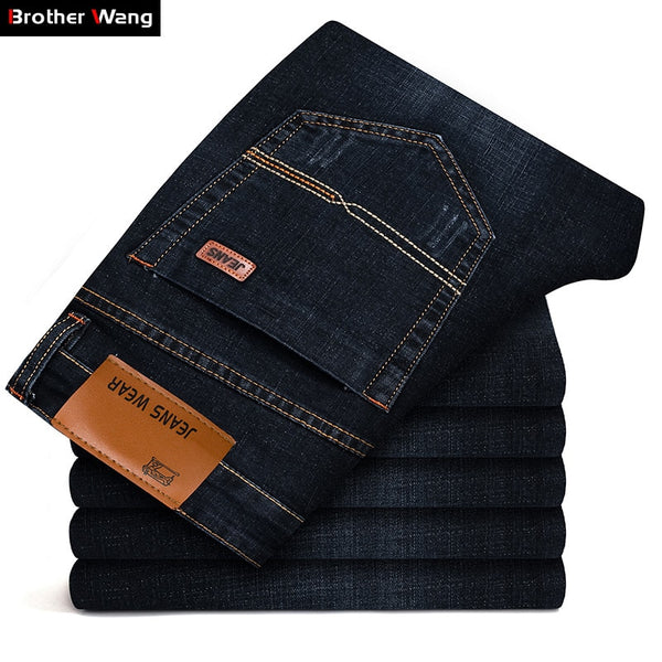 Code: J5866352 Brother Wang Brand 2019 New Men's Fashion Jeans Business Casual Stretch Slim Jeans Classic Trousers Denim Pants Male Black Blue Free Shipping Delivery 15-40 days