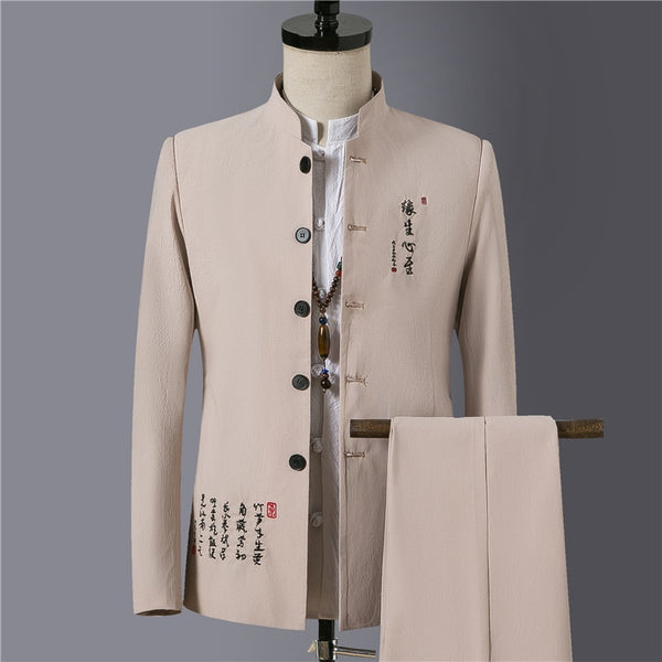 2019 New Fashion Stand Collar Suits Men ,black ,beige ,navy ,khaki, Slim Fit Cotton Mens Suits Jacket and Lace-up Trousers Pants