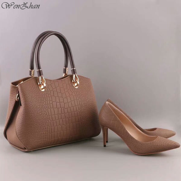 Code: S75542888 Top Grade Leather Woman Soft Shoes And HandBag Set  Size 36-43  Free Shipping Delivery 15-40 days
