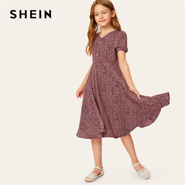 Code: G986635  Kiddie Girls V Neck Floral Print Half Button Front A Line Dress 2019 Summer Holiday Puff Sleeve Flared Boho Midi Dresses Free Shipping Delivery 15-40 days
