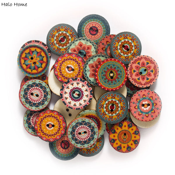50pcs Retro series Wood Buttons for Handwork Sewing Scrapbook Clothing Crafts Accessories Gift Card Decor 20-25mm