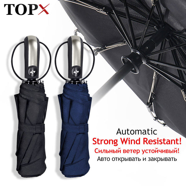 Wind Resistant Umbrella Rain Women For Men Gift 3Folding Fully-Automatic Parasol Compact Large Travel Business Car 10K Umbrellas