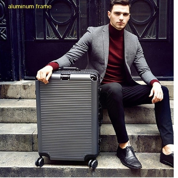 "Code: L56552 Super fashion NEW spinner aluminum frame hardside travel suitcase on wheel 26"" travel bags trolley luggage bag 20"" 24"" Free Shipping Delivery 20-40 days"