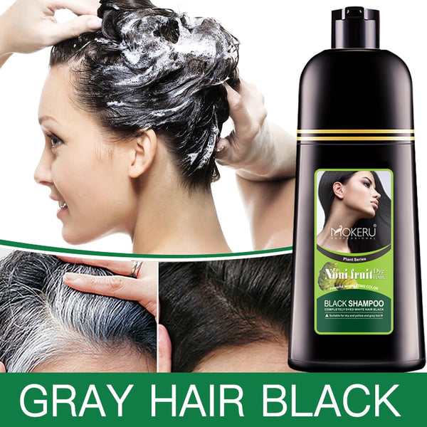 Code: H6933452 Mokeru Organic Natural Fast Hair Dye Only 5 Minutes Noni Plant Essence Black Hair Color Dye Shampoo For Cover Gray White Hair  Free Shipping USD30.72