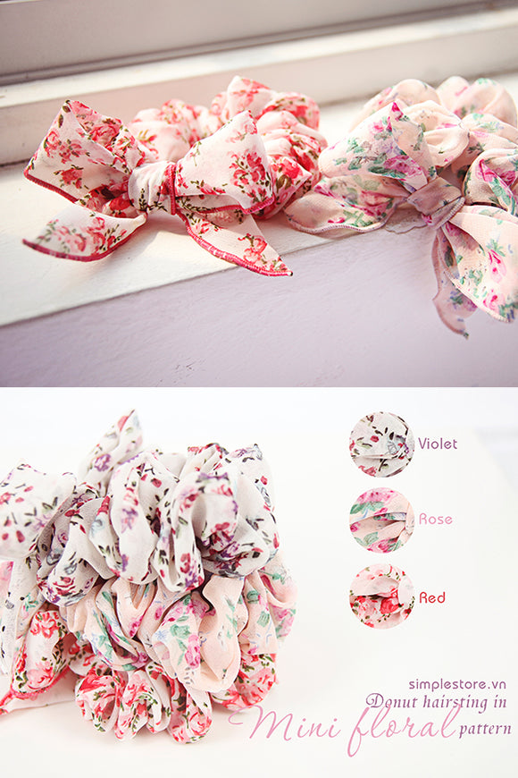 C16074 - Dây buộc Donut in Mini floral pattern - Simple Store