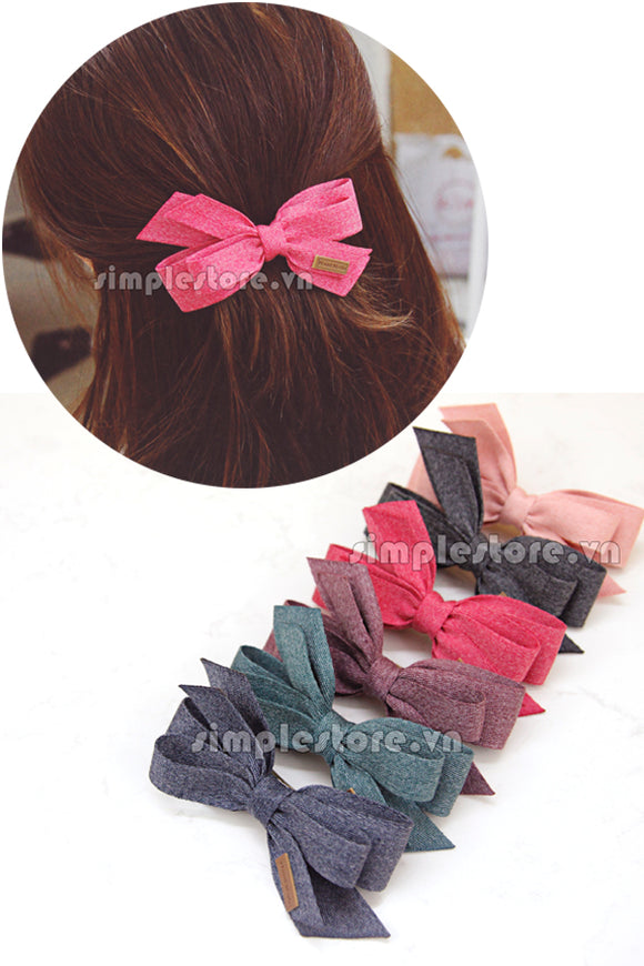 E18044 - Cặp bấm nơ Vintage Ribbon Hairpin - Simple Store