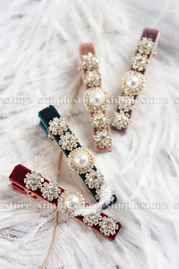 P22025 - Kẹp mái Romantic velvet hairclip with premium bright pearl