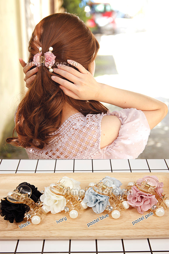T18067 - Cặp dọc Gorgeous Flower with crown Pin - Simple Store