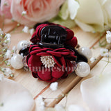 T18077 - [In Black] Cặp dọc Korea Flower with light cubic Pin - Simple Store