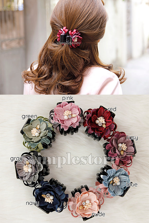 T18088 - Càng cua Pretty Flower Ribbon Hair-caught - Simple Store