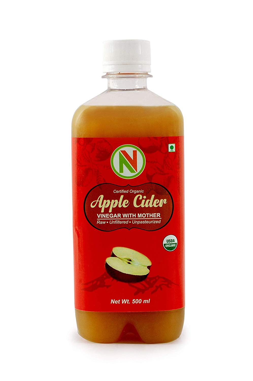 NatureVit Certified Organic Apple Cider Vinegar with Mother [Raw, Unfiltered, UnRefined] - Nature Vit