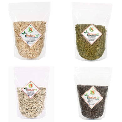 NatureVit Healthy Raw Seeds Combo Watermelon, Pumpkin, Sunflower, & Chia, 200gm Each [ Pack of 4 ]