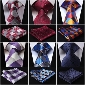 Men's Silk Fashion Extra Long Tie c/w  Handkerchief Set