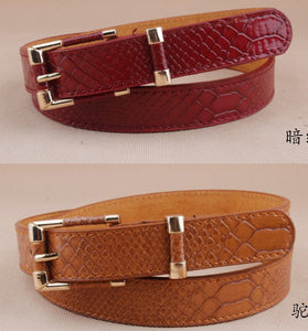 Fashionable crocodile ladies leather  belt