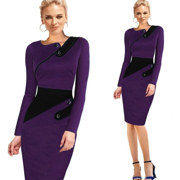Formal Work Office Sheath Patchwork  Dress