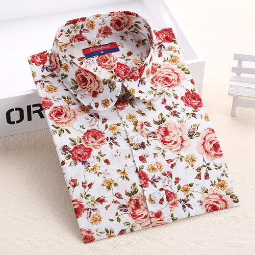 Colorful floral long sleeve  Women's  Blouse