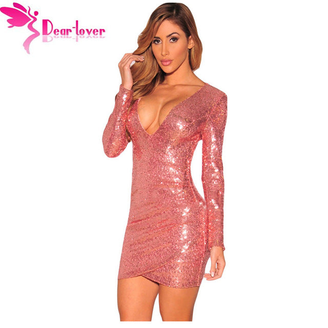 Ladies  Long Sleeve Gold Sequin Dress