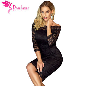 Black Lace Off the Shoulder  Party  Dress