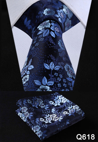 Floral Men's Pocket Square,  Tie, and Handkerchief set