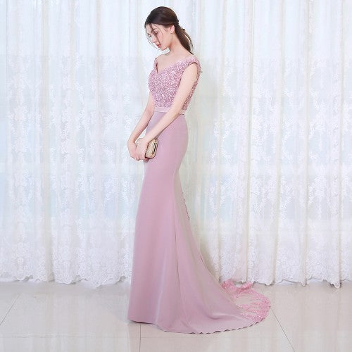 Burgundry Long Evening Party  Dress